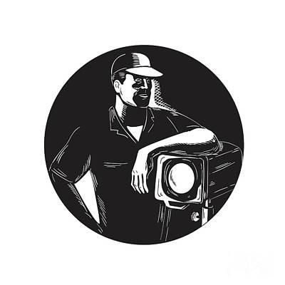 Film Crew Lighting Fresnel Spotlight Circle Woodcut Art Print