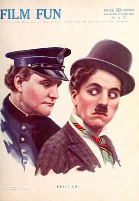 Film Fun Classic Comedy Magazine Charlie Chaplin And Policeman 1916 Art Print by R Muirhead Art