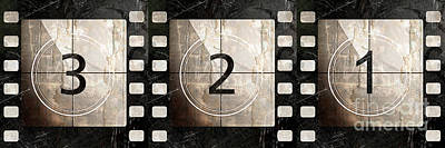 Vintage Camera Painting - Film Leader Countdown by Mindy Sommers