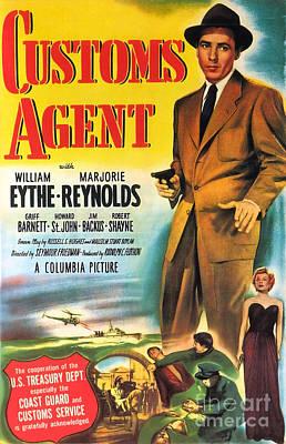 Painting - Film Noir Movie Poster Customs Agent  by R Muirhead Art