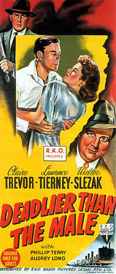 Painting - Film Noir Movie Poster Deadlier Than The Male by R Muirhead Art