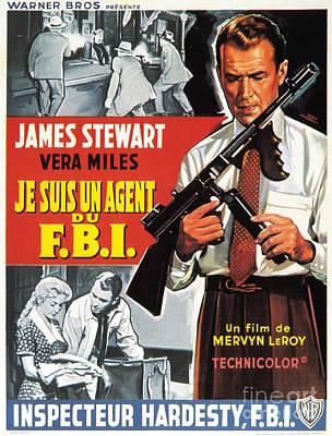 Painting - Film Noir Movie Poster James Stewart In Je Suis Un Agent Du F B I by R Muirhead Art