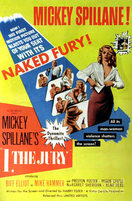 Painting - Film Noir Movie Poster Mickey Spillane I The Jury Naked Fury The Dynamite Thriller by R Muirhead Art