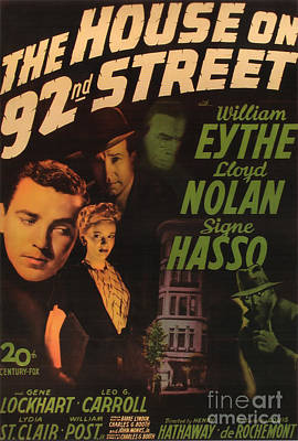 Painting - film Noir movie poster The House On 92nd Street by R Muirhead Art