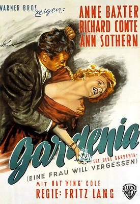 Photograph - Film Noir Poster Blue Gardenia Anne Baxter Richard Conte Ann Sothern by R Muirhead Art