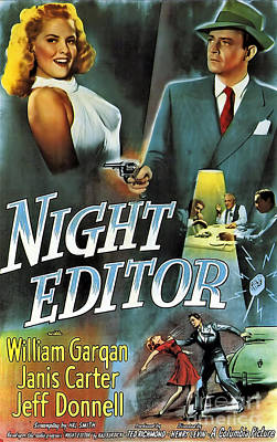 Painting - Film Noir Poster Night Editor by R Muirhead Art