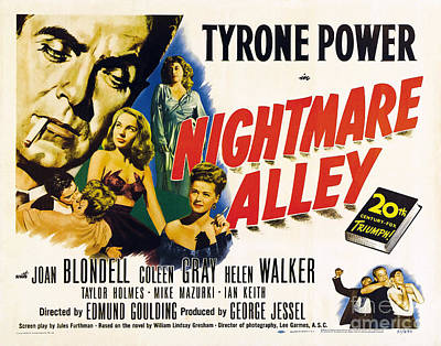 Painting - Film Noir Poster  Nightmare Alley Tyrone Power by R Muirhead Art