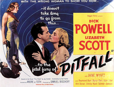 Painting - Film Noir Poster  Pitfall by R Muirhead Art