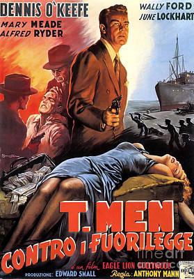 Painting - Film Noir Poster   T Men by R Muirhead Art