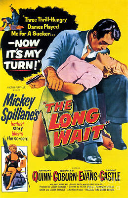 Painting - Film Noir Poster  The Long Wait by R Muirhead Art