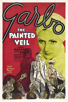Greta Garbo Painting - Film Poster For The Painted Veil by Celestial Images