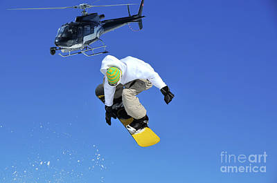 Verbier Photograph - Filming A  Snowboarder Jumping by Neil Harrison