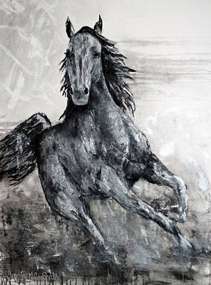 Painting - Contemporary Black And White Horse Painting, Fin by Jennifer Godshalk