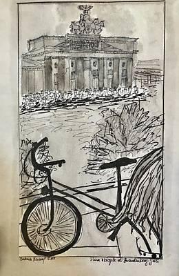 Drawing -  Fina And Bicycle At Brandenburg Gate by Barbara Anna Knauf