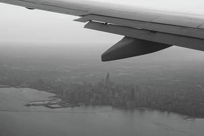 Chicago Photograph - Final Approach Chicago B W by Steve Gadomski