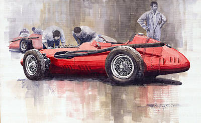 Maserati Painting - Final Check Before The Start Maserati 250 F 1957 by Yuriy  Shevchuk