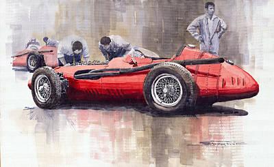 Maserati Painting - Final Check Before The Start Maserati 250 F 1957 by Yuriy  Shevchuk