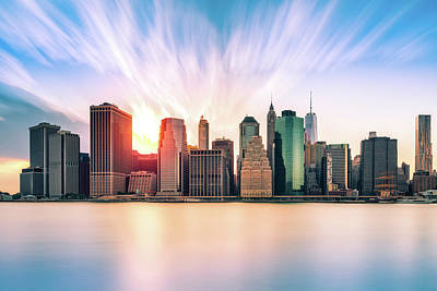 New York Skyline Royalty-Free and Rights-Managed Images - Financial District at sunset by Mihai Andritoiu