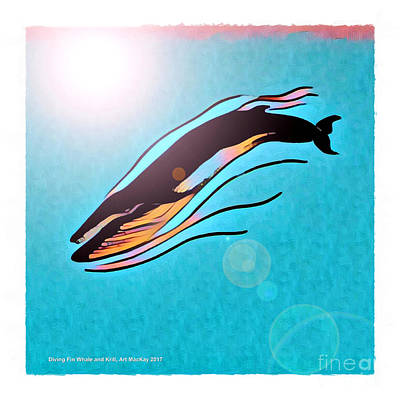 Digital Art - Finback Diving Through Krill by Art MacKay