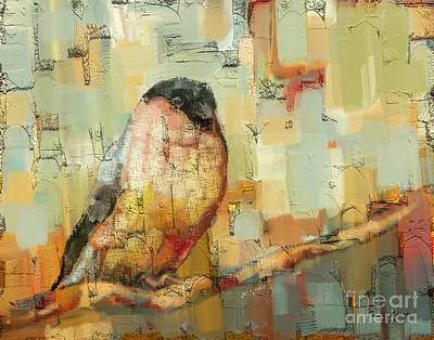 Quilted Tapestries Mixed Media - Finch Tapestry by Carrie Joy Byrnes