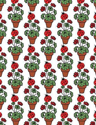 Digital Art - Find A Ladybug Pattern  by Irina Sztukowski