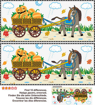 Find The Differences Visual Puzzle - Burro Pulling Cart With Pumpkins Art Print