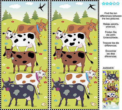 Find The Differences Visual Puzzle - Cows Art Print