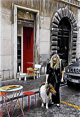 Digital Art - Finding Furry Love In Rome by Carrie OBrien Sibley