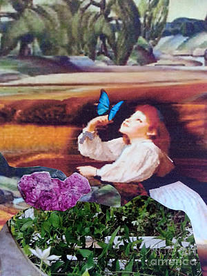 Little Girl Mixed Media - Finding Magic #3 by Marcy  Orendorff