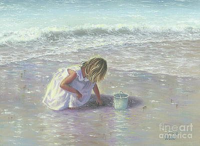 Little Girl On Beach Painting - Finding Sea Glass by Vickie Wade