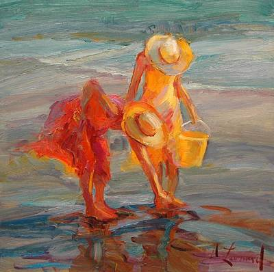 Ampersand Painting - Finding Shells by Diane Leonard