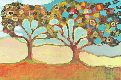 Modern Tree Painting - Finding Strength Together by Jennifer Lommers