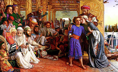 Jesus In The Temple Painting - Finding The Savior In The Temple by William Holman Hunt