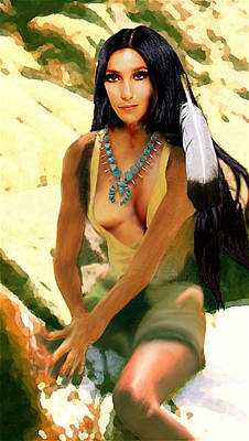 Digital Art - Fine Art Digital Portrait Cher Half Breed B Detail3b by G Linsenmayer