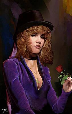 Painting - Fine Art Digital Portrait Stevie Nicks Crescent Moon Top Hat by G Linsenmayer