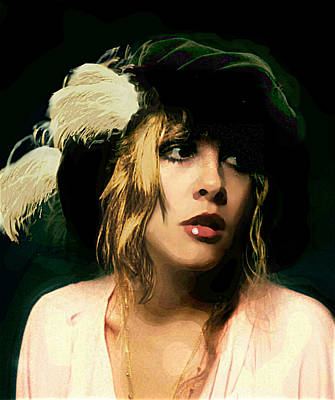 Painting - Fine Art Digital Portrait Stevie Nicks Wearing Beret by G Linsenmayer