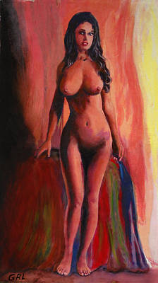 Painting - Fine Art Female Nude Jean Standing Original Multimedia Painting by G Linsenmayer