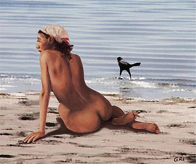 Digital Art - Fine Art Female Nude Multimedia Oil Painting Stacy Sitting Gulf Coast Florida by G Linsenmayer