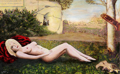 Painting - Fine Art Female Nude Niki Goddess Diana Reclining Multimedia Painting by G Linsenmayer