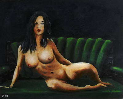 Art Print featuring the painting Fine Art Female Nude Sara Seated 2011 by G Linsenmayer