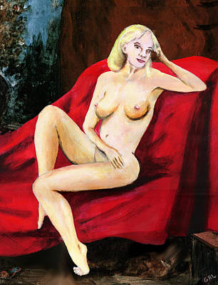 Fine Art Female Nude Seated On Red Drapery Art Print by G Linsenmayer