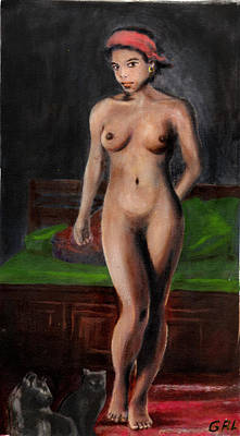 Art Print featuring the painting Fine Art Female Nude Standing With Cats by G Linsenmayer