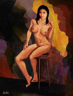 Painting - Fine Art Female Nude Vanna Pose2c Multimedia Painting Dark Background by G Linsenmayer