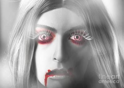 Bloodshot Photograph - Fine Art Horror. Beautiful Blond Vampire Girl by Jorgo Photography - Wall Art Gallery