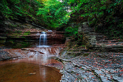Small Waterfall At Buttermilk Falls In Ithaca, Ny. Art Print by Scott Chimber