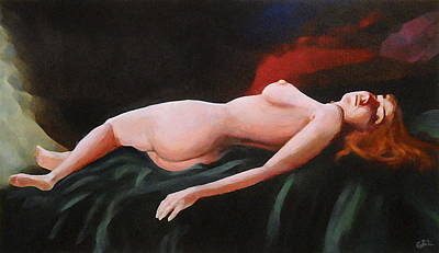 Painting - Fine Art Nude Multimedia Painting Pose Reclining2 Dark Green Spread by G Linsenmayer