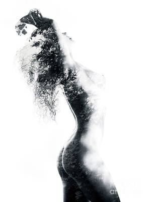 Nude Nature Photograph - Fine Art Nude Of Woman Body With Trees And Leaves Exposed On It by Awen Fine Art Prints