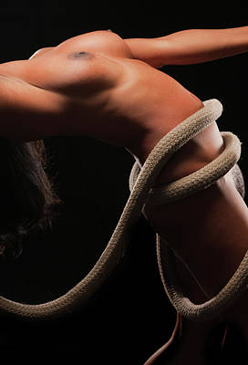 Photograph - Fine Art Nude With Rope Twist by James Hammond