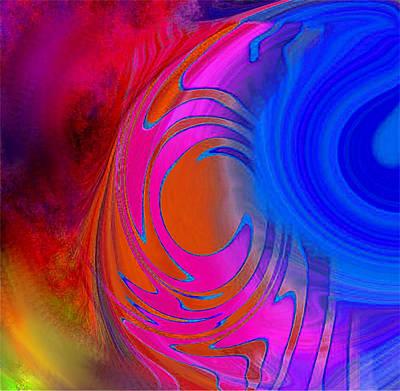 Painting - Fine Art Painting Original Digital Abstract Warp 3 Triptych B by G Linsenmayer