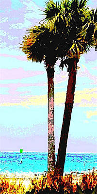 Painting - Fine Art Palm Trees Gulf Coast Florida Original Digital Painting by G Linsenmayer
